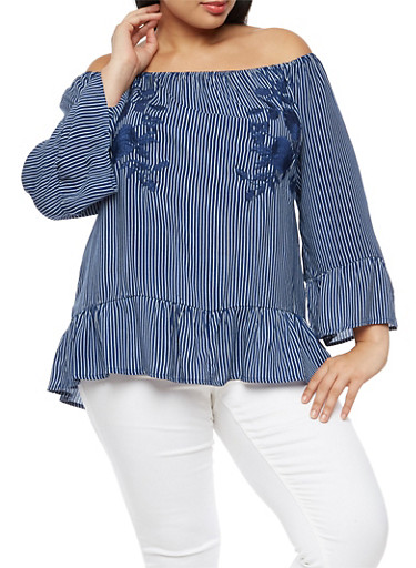 Plus Size Striped Floral Embroidered Off the Shoulder Top with Flounce Hem,NAVY,large