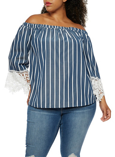 Plus Size Off the Shoulder Striped Chambray Top,NAVY,large