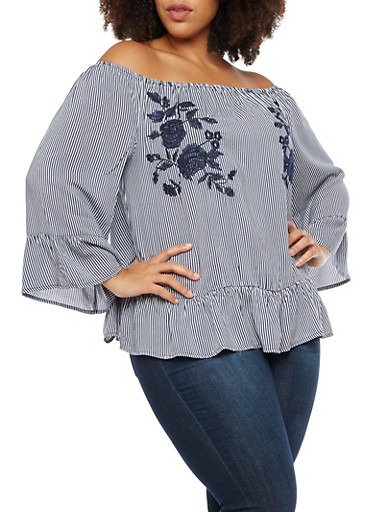 Plus Size Striped Off the Shoulder Top with Floral Embroidery,NAVY,large