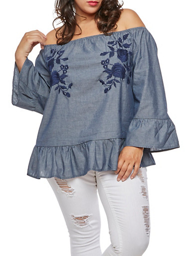 Plus Size Embroidered Chambray Off the Shoulder Top,NAVY,large