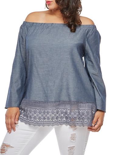 Plus Size Crochet Trim Off the Shoulder Top,NAVY,large