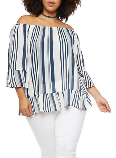 Plus Size Striped Off the Shoulder Top with Flounce Hem,IVORY,large