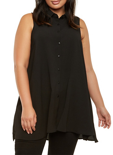 Plus Size Sleeveless Button Front Tunic Top,BLACK,large