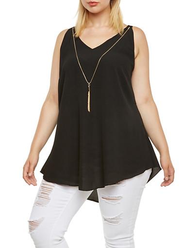 Plus Size Crepe Tank Top with Detachable Faux Necklace,BLACK,large