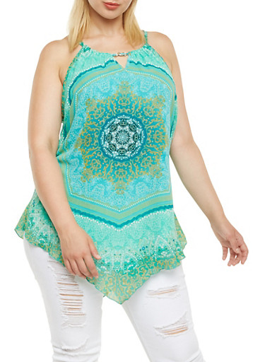 Plus Size Top with Mandala Print Overlay,GREEN,large