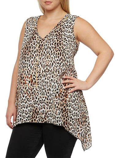 Plus Size Leopard Print Top with Chain Accented V-Neck,BROWN,large