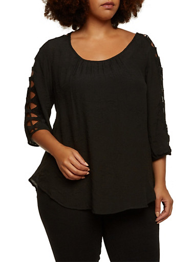 Plus Size Gauzy Top with Crochet Sleeve Accents,BLACK,large