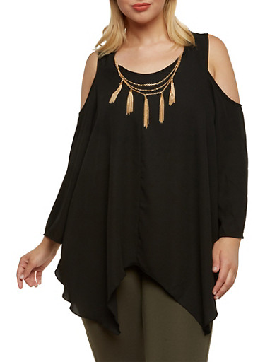 Plus Size Cold Shoulder Top with Chain Tassel Necklace,BLACK,large