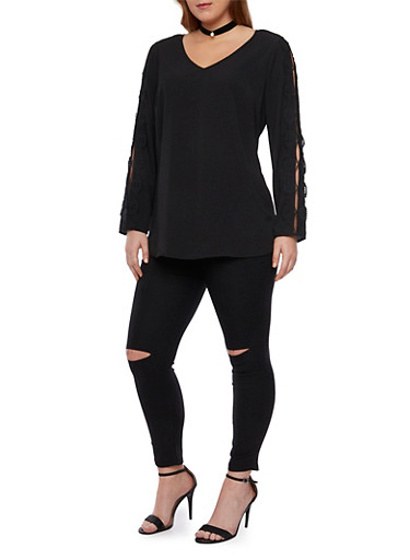 Plus Size Top with Crochet Sleeve Accents,BLACK,large