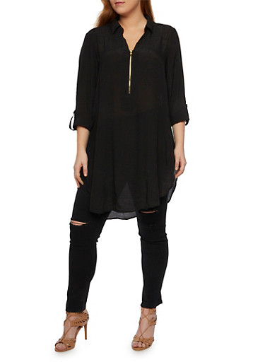 Plus Size Tunic Top with Zip Front,BLACK,large