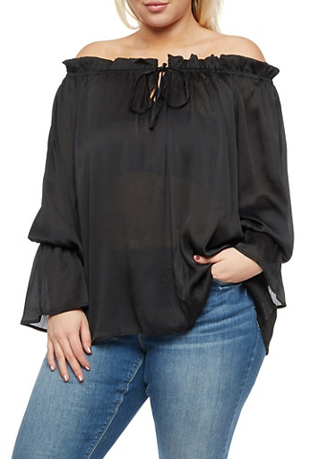 Plus Size Textured Knit Off the Shoulder Top,BLACK,large