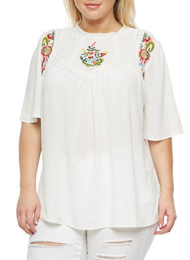 Plus Size Babydoll Top with Floral Embroidery,IVORY  (OFF WHITE),large