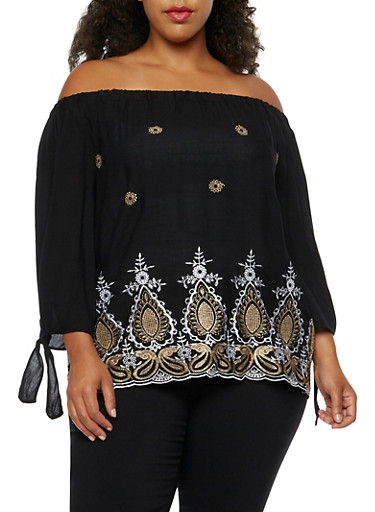 Plus Size Off the Shoulder Embroidered Top,BLACK,large