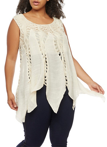 Plus Size Sleeveless Crochet Top,NATURAL,large