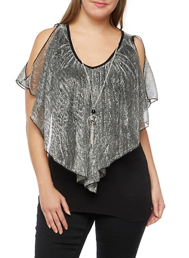 Plus Size Metallic Top with Removable Necklace,SILVER,large