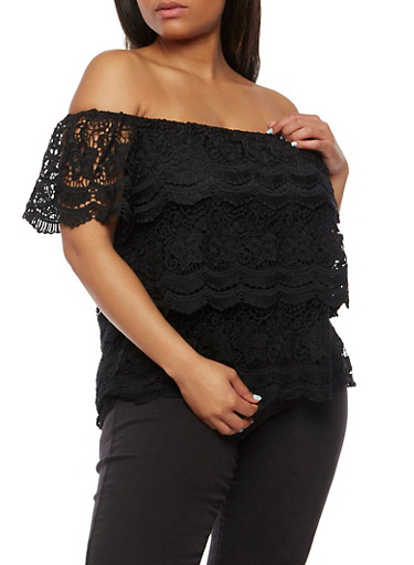 Plus Size Off the Shoulder Tiered Crochet Top,BLACK,large