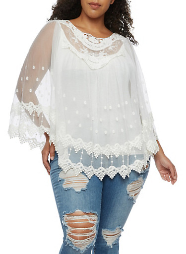 Plus Size Long Sleeve Crochet and Mesh Blouse,IVORY,large