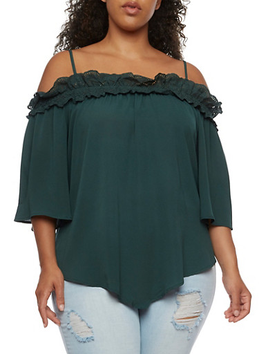 Plus Size Off the Shoulder Crepe Knit Top,HUNTER,large