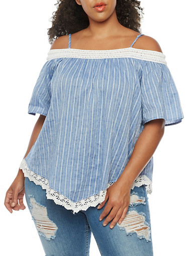 Plus Size Striped Off the Shoulder Top with Crochet Trim,BLUE,large