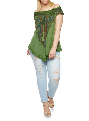 Plus Size Off The Shoulder Top with Dashiki Print,OLIVE,large