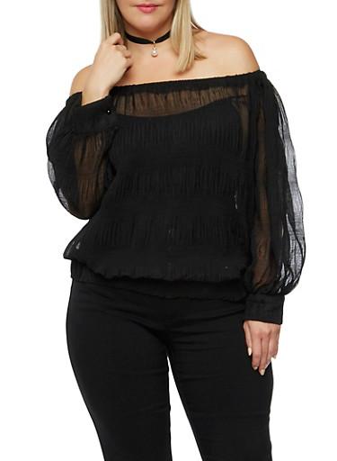 Plus Size Off the Shoulder Sheer Top,BLACK,large