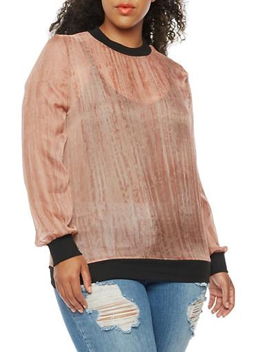 Plus Size Chiffon Knit Long Sleeve Top,MAUVE,large
