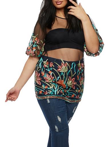 Plus Size Floral Applique Mesh Top,JADE,large
