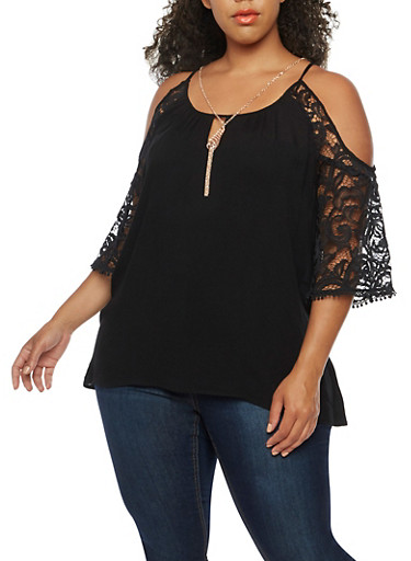 Plus Size Off the Shoulder Crepe Knit Top,BLACK,large
