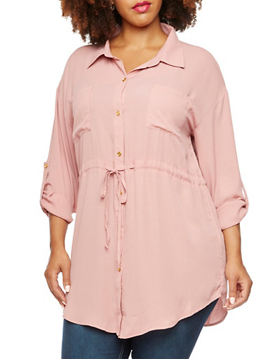 Plus Size Button Front Tunic Top,BLUSH,large