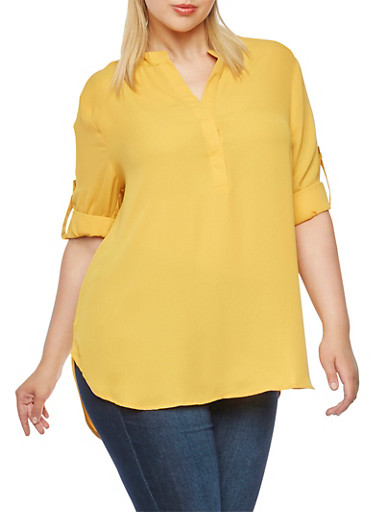 Plus Size Tunic Top with High-Low Hem,MUSTARD,large