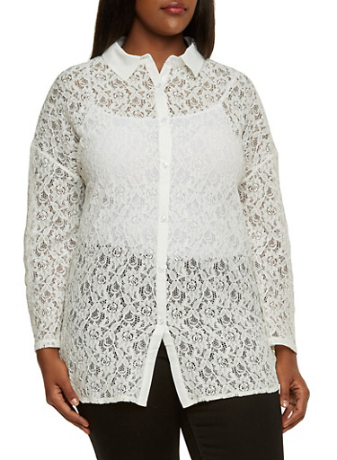 Plus Size Lace Blouse with Button Front,IVORY,large