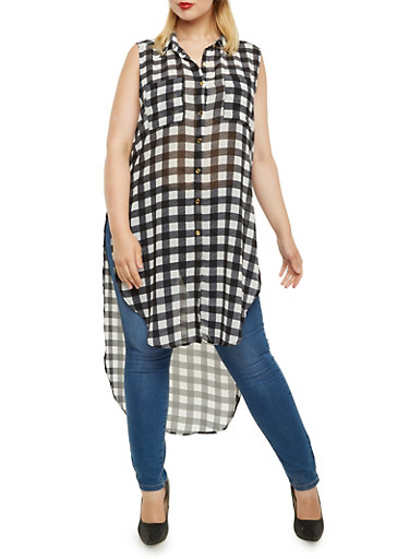 Plus Size Plaid Tunic Top with High-Low Hem,BLACK,large