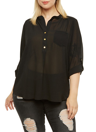 Plus Size High-Low Top with Mandarin Collar,BLACK,large