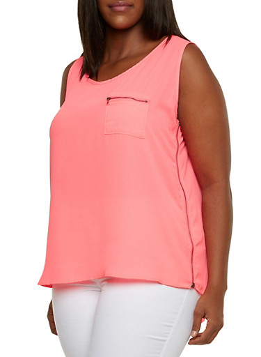 Plus Size Tank Top with Zipper Detail,NEON PINK,large