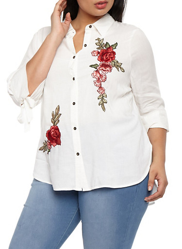 Plus Size Button Front Top with Floral Applique,WHITE,large