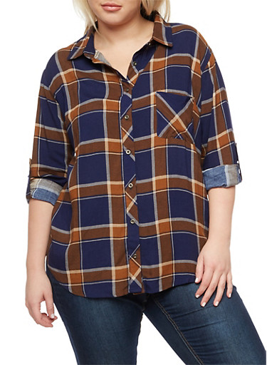 Plus Size Plaid Button Front Top,IVORY/NAVY,large