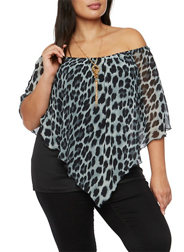 Plus Size Off the Shoulder Layered Top with Necklace,BLACK,large