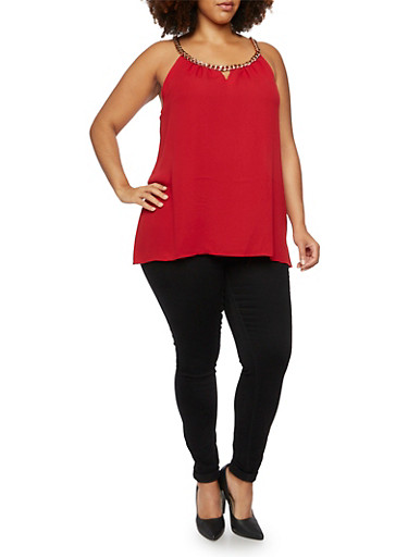 Plus Size Tank Top with Curb Chain Detail,RED,large