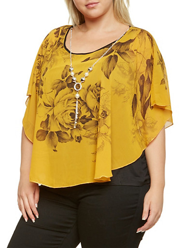 Plus Size Floral Flutter Overlay Top with Necklace,MUSTARD,large