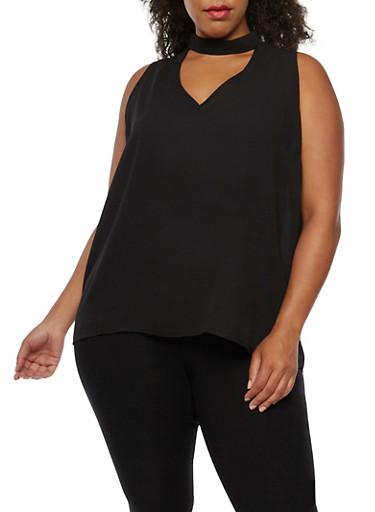 Plus Size Sleeveless Choker Neck Top,BLACK,large