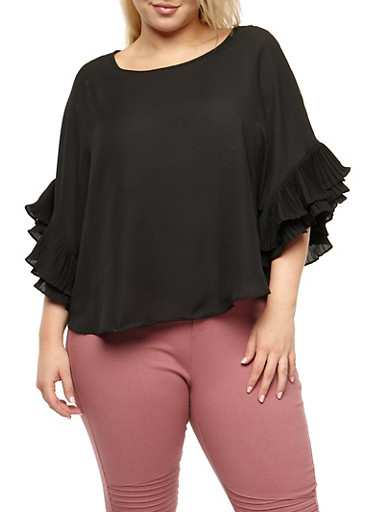 Plus Size Crepe Knit Ruffle Sleeve Top,BLACK,large