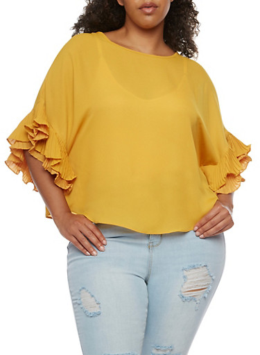 Plus Size Crepe Knit Ruffle Sleeve Top,MUSTARD,large