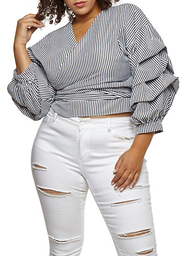 Plus Size Striped Wrap Top with Tiered Sleeves,BLACK,large