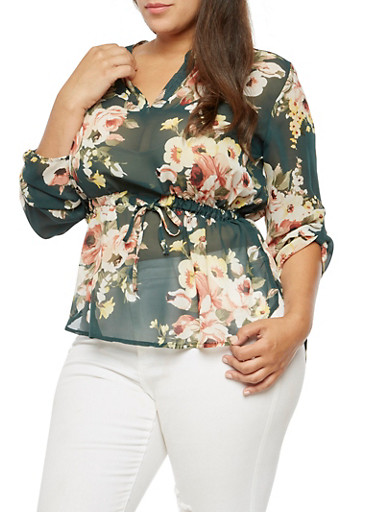 Plus Size Floral Cinched Blouse,HUNTER  NB 160316,large