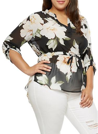 Plus Size Floral Cinched Waist Blouse,BLACK,large