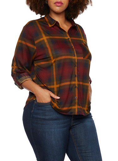 Plus Size Button Up Shirt in Plaid,OLIVE,large