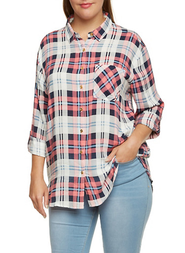 Plus Size Plaid Shirt with Tabbed Sleeves,CORAL,large