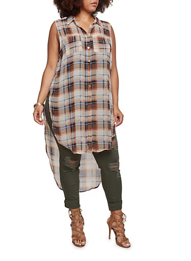 Plus Size Sleeveless Tunic Top in Plaid,BROWN,large