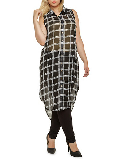 Plus Size Plaid Maxi Top with Slits,BLACK/WHITE,large