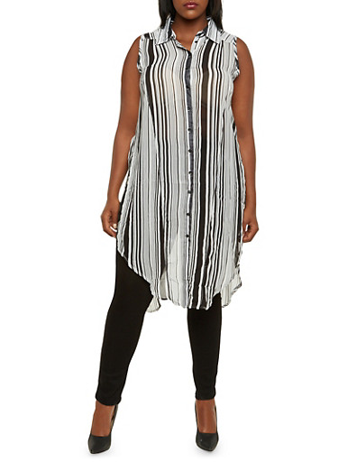 Plus Size Striped Duster with Slits,BLACK/WHITE,large